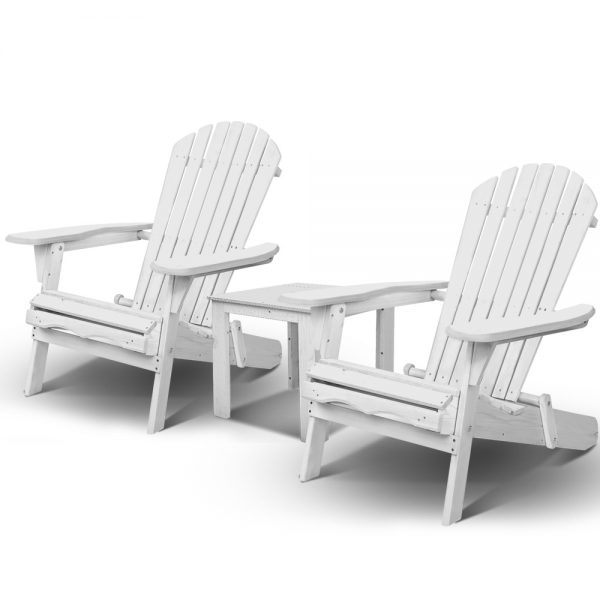 White Adirondack table and chairs set