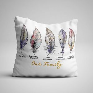 our family personalised pillow