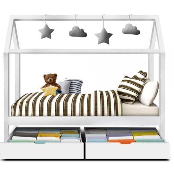 white bali house bed