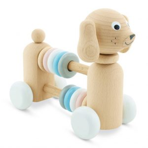 wooden dog with beads